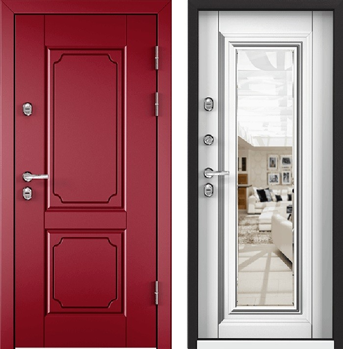Дверь Torex Snegir 45 РP OS45-05 RAL-3005 (красное вино)  S45-06 (Зеркало) КТ Белый