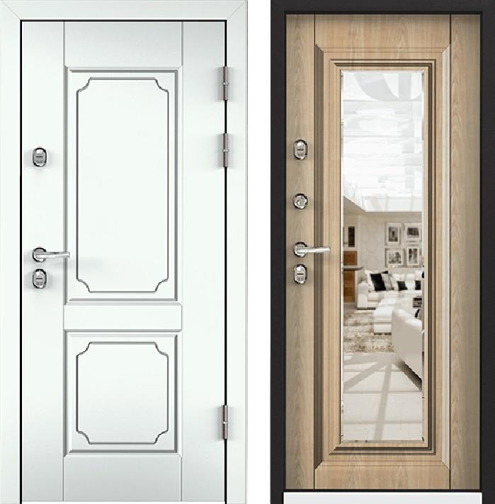Дверь Torex Snegir 45 РP OS45-05 RAL-9016 (белый)  S45-06 (зеркало)  Дуб бежевый
