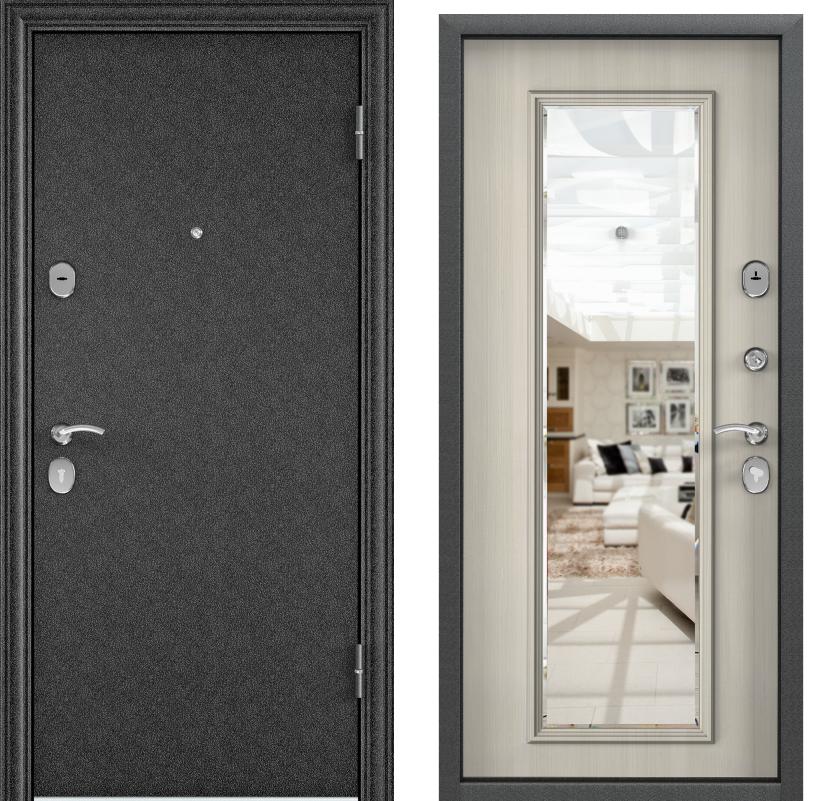 Дверь Дельта 100  Черный шелк/ПВХ белый перламутр DМ