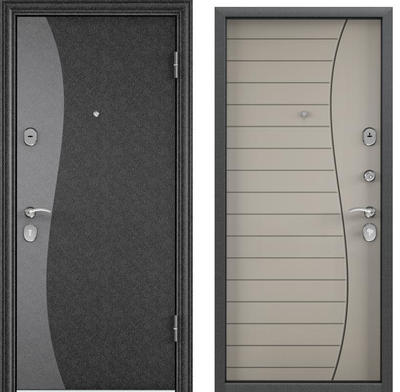 Дверь Дельта 112  Черный шелк SP-8G/ПВХ Кремовый ликёр D8